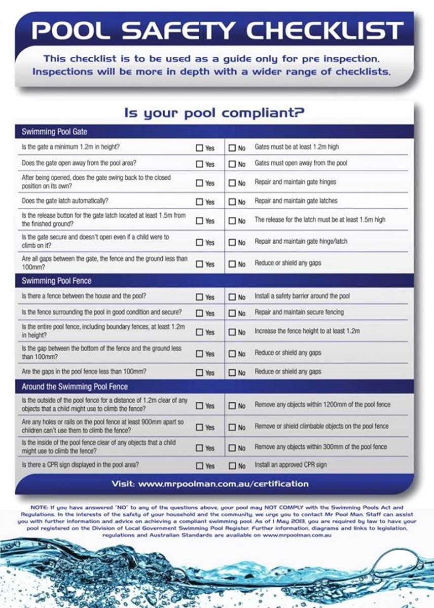 Pool Safety Checklist